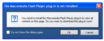 Sample of Opera requesting to install Flash plugin to view a Flash website