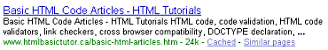 Example of how the title tag is used by Google in the search results